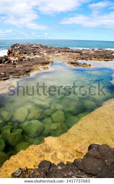Tidal Lagoon Secret Beach Kauai Hawaii Stock Photo Edit Now 1417737683