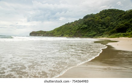 Tide coming in on Emerald Coast on Beach in Nicaragua