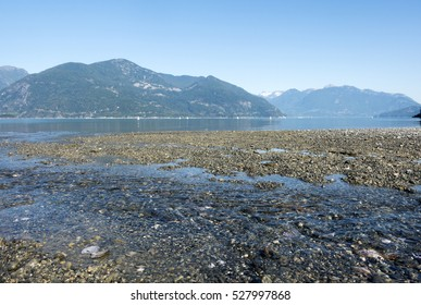 Tide is out in Howe Sound along the Sea to Sky Highway near Squamish, British Columbia, Canada