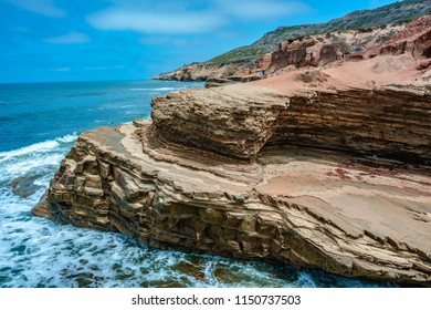 Tide pools and natural cliff coastal landscaping of Point Loma, San Diego, California.