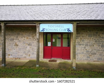 TIDESWELL, UNITED KINGDOM, 5th January, 2020: Tideswell Bowling Club entrance next to the playing fields in the village