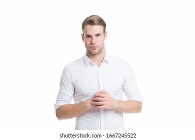 Tidy boy. White collar worker. Working formal dress code. Menswear formal style. Guy handsome office worker. Clerical and middle chain management. Man well groomed formal shirt white background.