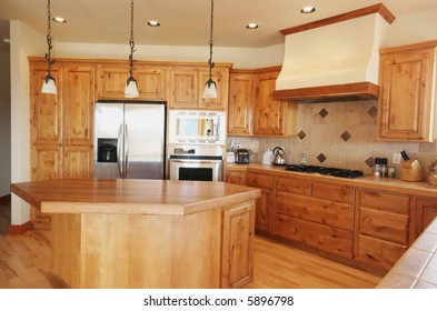 A tidy pine kitchen in a Montana home.