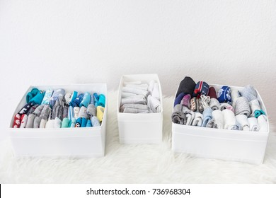 Tidy socks in boxes at home with the konmari method