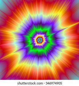 Tie Dye Explosion / A digital abstract fractal image with a colorful psychedelic explosion design in red, green, violet and yellow.
