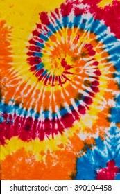 Tie Dye Red, Yellow Orange Blue Swirl Pattern Design