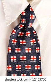 Tie with English flags and white shirt