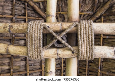tie a rope with bamboo description cross. It is structure in building a cottage.