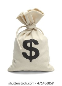 Tied Bank Bag of Money Isolated on White Background.