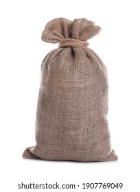 Tied burlap bag isolated on white. Organic material