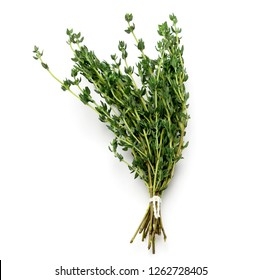 tied fresh thyme over white back ground