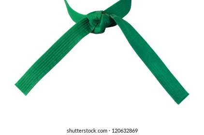 Tied Karate  green belt closeup isolated on white background