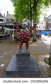Tiel, The Netherlands - April 26, 2019; Flipje was the mascot of the Tiel-based jam factory De Betuwe. In Tiel he is honored with a statue.