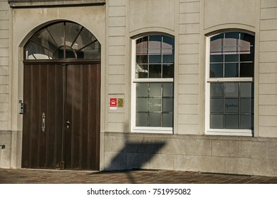 Tielt, Belgium - July 02, 2017. Close-up of house facade at sunset in Tielt. Charming and quiet village in the countryside, near Ghent and surrounded by agricultural fields. Western Belgium.
