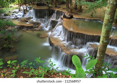 Tier 6 of Huay Mae Khamin Waterfall in Kanchanaburi Province, Thailand