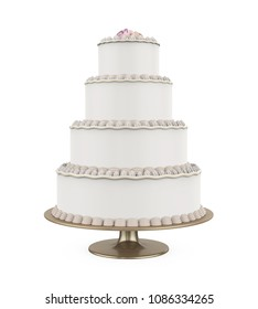 Tiered Cakes Isolated. 3D rendering