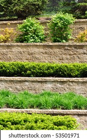 Tiered Retaining Wall with Plants and Shrubs