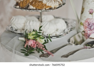 A tiered tray with desserts.