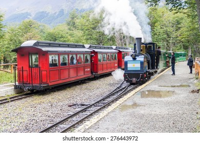 TIERRA DEL FUEGO, ARGENTINA - MARCH 7, 2015: Tourist steam train in National Park Tierra del Fuego, Argentina