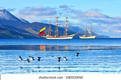 Tierra del Fuego - Argentina May 2, 2018 Candles Latin America 2018, port of Ushuaia - City of Ushuaia