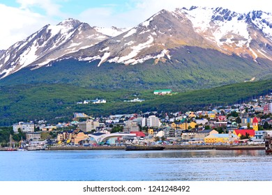 Tierra del Fuego - Argentina, November 22, 2018. You can see the city of Ushuaia from the pier of the port.
