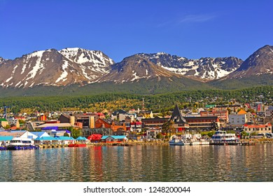 Tierra del fuego - Argentina, November 28, 2018, view of the city of Ushuaia, from the dock