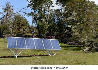 TIERRA DEL FUEGO, CHILE - NOVEMBER 13,2014: Solar panel on the Tierra Del Fuego.