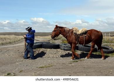 TIERRA DEL FUEGO, CHILE - NOVEMBER 12,2014:Gaucho in Tierra del Fuego.