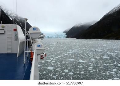 TIERRA DEL FUEGO, CHILE - NOVEMBER 19,2014: The ship enters the Garibaldi fjord in the archipelago of Tierra del Fuego.
