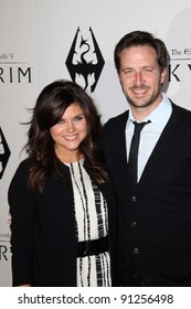 "Tiffani Thiessen, Brady Smith at the ""Skyrim"" Official Launch Party, Belasco Theater, Los Angeles, CA 11-08-11"