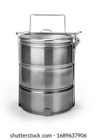 Tiffin carrier stainless steel lunch box isolated on white background with clipping path