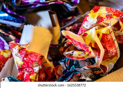 Tiffin, Iowa, USA: 12/2019:  Crumpled wrapping paper from the day after Christmas