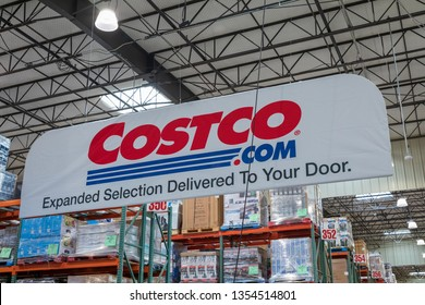 Tigard, Oregon - March 17, 2019 : Costco Wholesale storefront. Costco Wholesale Corporation is largest membership-only warehouse club in US