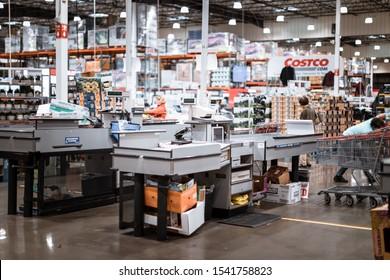 Tigard, Oregon - Oct 25, 2019 : Checkout lanes in a Costco Wholesale store
