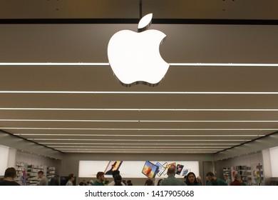 Tigard, Oregon, USA - June 6, 2019: Apple store in Washington Square Shopping Mall.