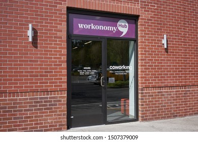 Tigard, Oregon, USA - Sep 16, 2019: The entrance to a new Workonomy™ Hub Coworking Space location in an Office Depot Store in Tigard, a southern suburb within the Portland metro area.