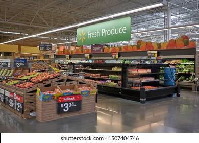 Tigard, Oregon, USA - Sep 16, 2019: The Produce Department in a Walmart Supercenter in Tigard, Oregon.