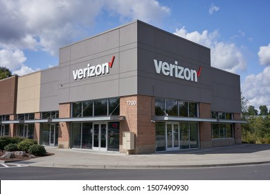 Tigard, Oregon, USA - Sep 16, 2019: A full-service store for Verizon Wireless products and services. Verizon Wireless is the largest wireless telecommunications provider in the United States.