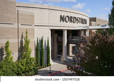 Tigard, Oregon, USA - Sep 16, 2019: The entry to a Nordstrom department store in Tigard, a southwestern suburb within the Portland metropolitan area.