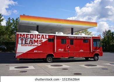 Tigard, Oregon, USA - Sep 24, 2019: A Medical Teams International's Mobile Dental Clinic is seen in Tigard. Medical Teams International is a nonprofit organization headquartered in Tigard, Oregon.