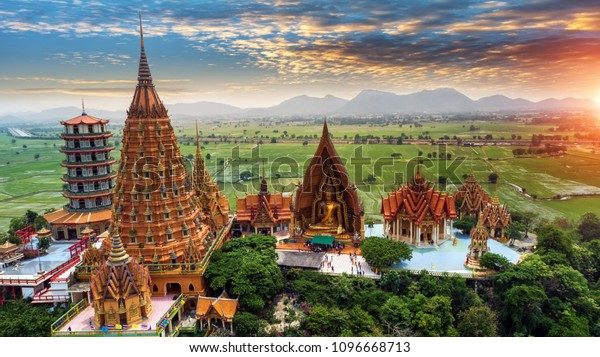 Tiger Cave Temple (Wat Tham Sua) in Kanchanaburi, Thailand is a beautiful day, so it is very popular with tourists and foreigners