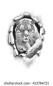 Tiger jumping punches metal. Pencil drawing illustration
