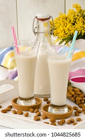 Tiger nut milk. Refreshing cold drink from Valencia. Horchata de chufa.