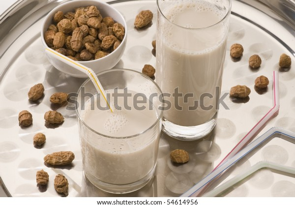 Tiger nut milk in two glasses. Refreshing cold drink from Valencia. Horchata de chufa.