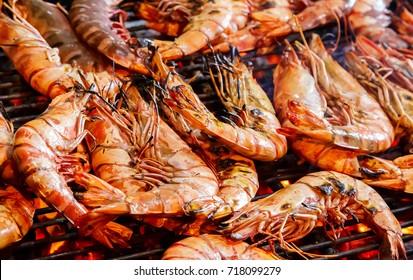 Tiger prawns grilled sea food, shrimps, street food and beach bbq