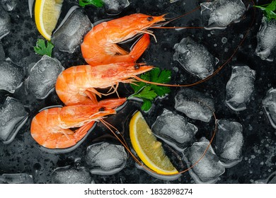 Tiger prawns with ice, lemon and parsley on dark background. Flat lay, copy space
