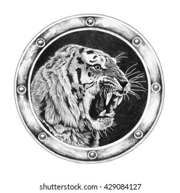 Tiger in round frame isolated on white background