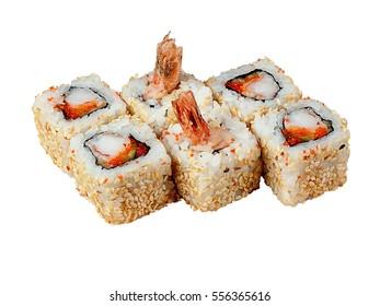 Tiger Shrimp Maki Sushi Rolls Japanese Menu Set