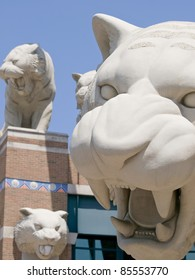 Tiger Stadium home of Major League Baseball's Detroit Tigers is in Detroit Michigan USA and it has many statues of Tigers in front on the stadium these are a few of them