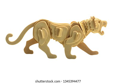 Tiger in wooden art style isolated on white background with clipping path